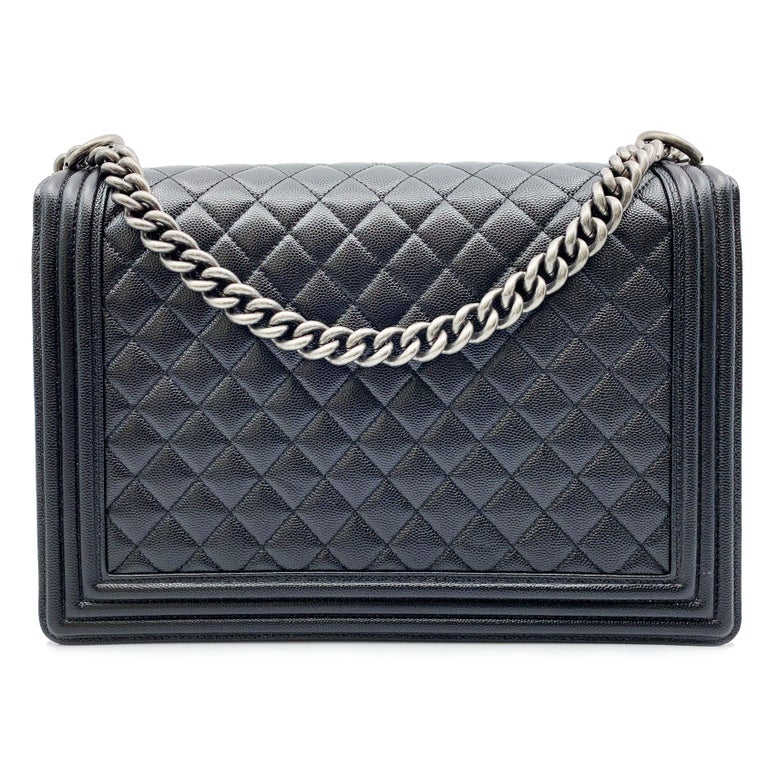 f2a70c71a896f Chanel Flap Boy Ruthenium Calfskin Black Caviar Shoulder Ladies Bag In New  Condition For Sale In