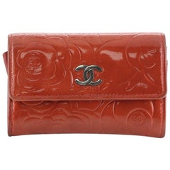 Chanel Flap Coin Purse Camellia Patent