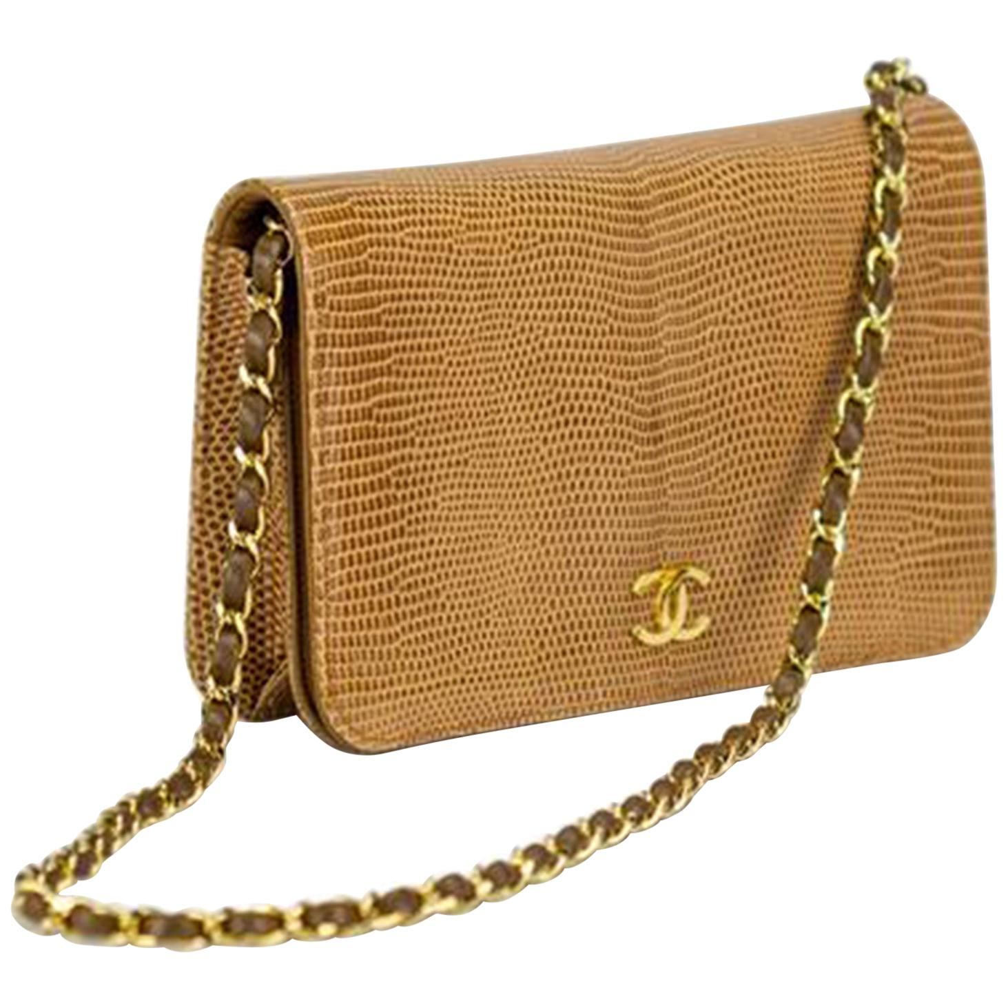 Chanel 80's Flap w Top Handle Clutch Exotic Convertible Caramel Lizard Skin Bag