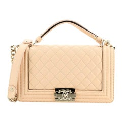 Chanel Flat Handle Boy Flap Bag Quilted Lambskin Old Medium