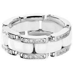 Chanel Flexible Ultra Ring .60 Diamonds E-F VS White Ceramic