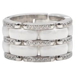 Chanel Flexible Ultra Ring White Ceramic & Diamonds Large Version 18 Karat Gold