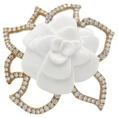 Chanel Flor De Camilia 18 Karat Yellow Gold and Ceramic Brooch