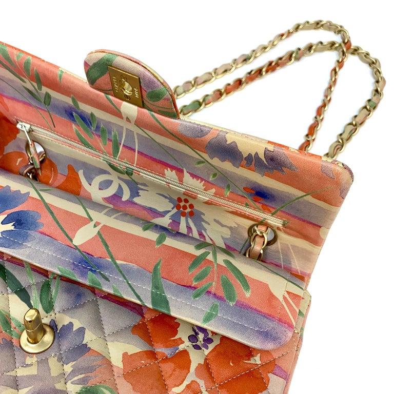 Chanel Floral Watercolor Double Flap Bag For Sale 5