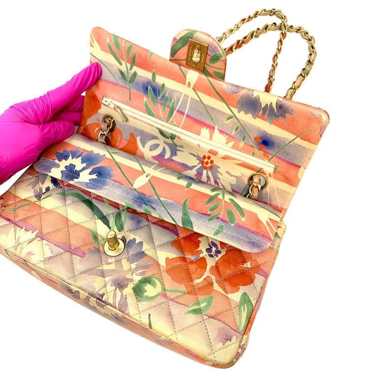 Chanel Floral Watercolor Double Flap Bag For Sale 6