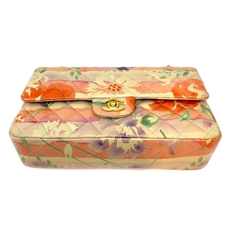 Beige Chanel Floral Watercolor Double Flap Bag For Sale
