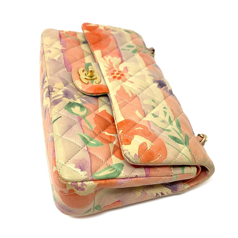 Chanel Floral Watercolor Double Flap Bag In Excellent Condition For Sale In Palm Beach, FL