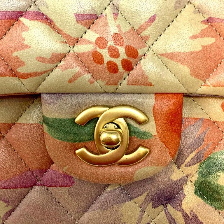 Chanel Floral Watercolor Double Flap Bag For Sale 1