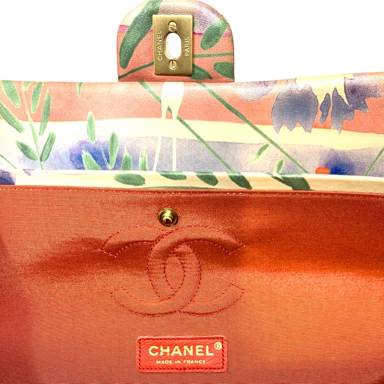 Chanel Floral Watercolor Double Flap Bag For Sale 2