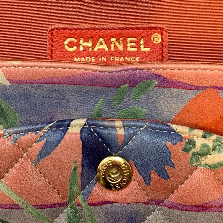 Chanel Floral Watercolor Double Flap Bag For Sale 3