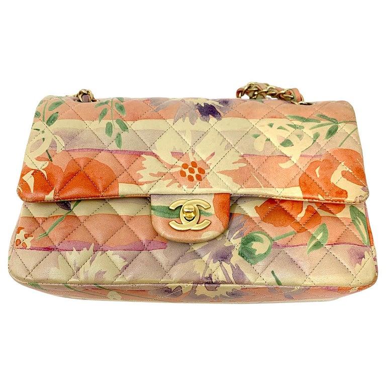 Chanel Floral Watercolor Double Flap Bag For Sale