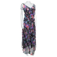 Chanel Floral Watercolor Printed Silk Knit Tiered Handkerchief Maxi Dress S