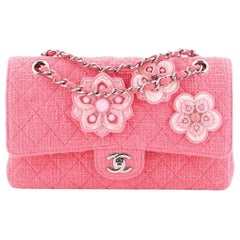 Chanel Flower Applique Classic Double Flap Bag Quilted Tweed Medium