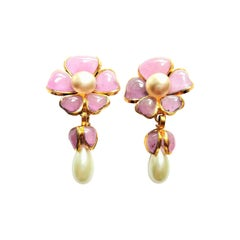 Chanel flower ear clip made by Gripoix gold plated 1990s