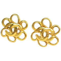 CHANEL Flower motif GP Womens earrings gold