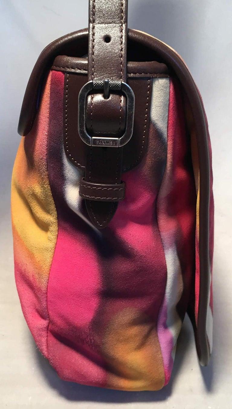 Pink Chanel Flower Power Messenger Multicolor Nubuck Crossbody Shoulder Bag For Sale