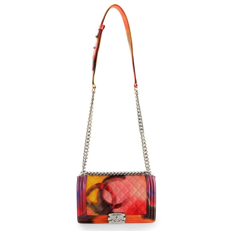 d20cd8932617a3 Chanel Flower Power Multicolor Leather Boy Bag- Special Edition For Sale 4