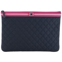 Chanel Fluo Boy O Case Clutch Quilted Canvas Large