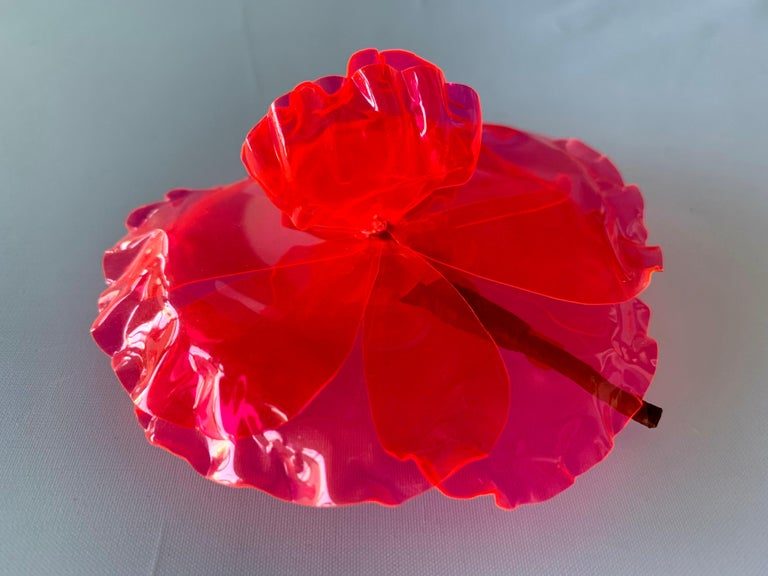 Vintage large Chanel fluorescent pink camellia flower pin/brooch - signed Chanel.
