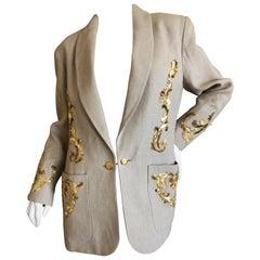Chanel for Bergdorf Goodman Exquisite Lesage Gold Embellished Linen Jacket
