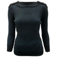 Chanel Forest Green Ribbed Knit Sweater with Tweed Epaulettes