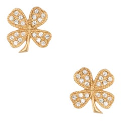 Chanel Four Leaf Clover Stud Earrings Crystal Yellow Gold Tone Circa 1998