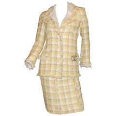 CHANEL Frayed Signature Lesage Fantasy Tweed CC Logo Fringe Skirt Suit Ensemble
