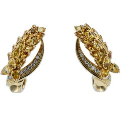 Chanel, French 12 Carat Yellow Sapphire and Diamond Clip-On Earrings