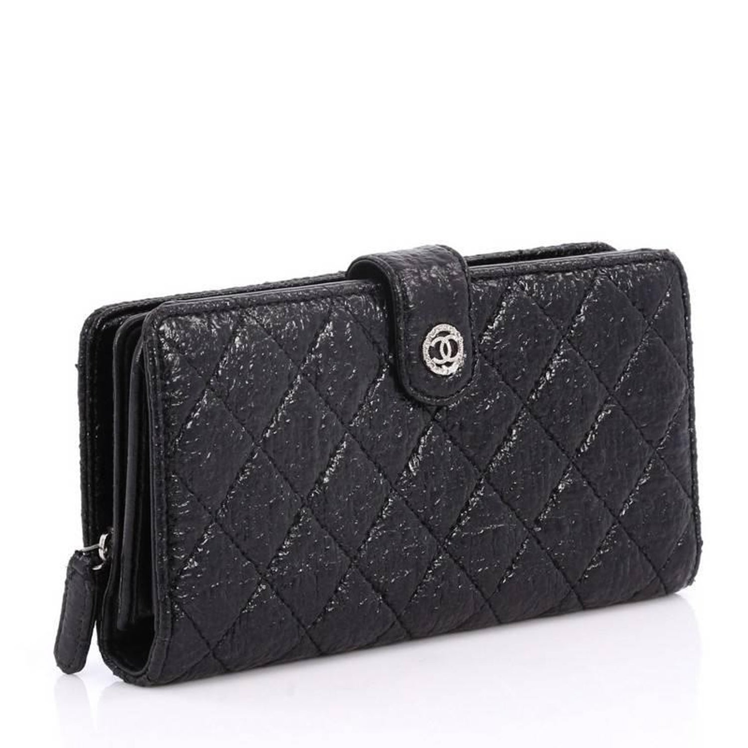 6c2a7e5c32c2 Chanel French Wallet Quilted Glazed Crackled Leather Long at 1stdibs