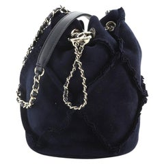 Chanel Fringed CC Drawstring Bucket Bag Quilted Suede Small