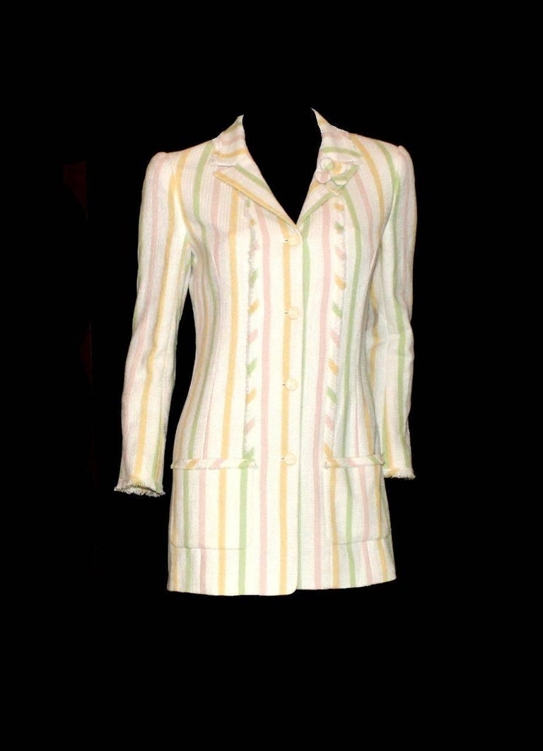 White Chanel Fringed Striped Pastels Tweed Jacket with CC Logo Buttons & Clover Brooch For Sale
