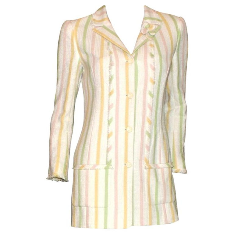Chanel Fringed Striped Pastels Tweed Jacket with CC Logo Buttons & Clover Brooch For Sale