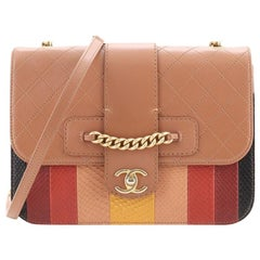 Chanel Front Chain Flap Bag Quilted Calfskin with Patchwork Python Medium