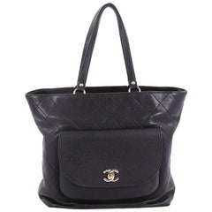 Chanel Front Pocket Shopping Tote Quilted Calfskin with Caviar Medium