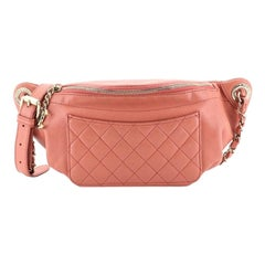 Chanel Front Pocket Waist Bag Quilted Crumpled Calfskin