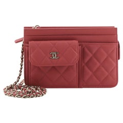 Chanel Front Pocket Wallet on Chain Quilted Caviar