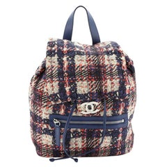 Chanel Front Zip Backpack Printed Nylon Small