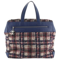Chanel Front Zip Pocket Tote Printed Nylon Large