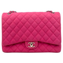 Chanel Fuchsia Caviar Maxi Flap Bag