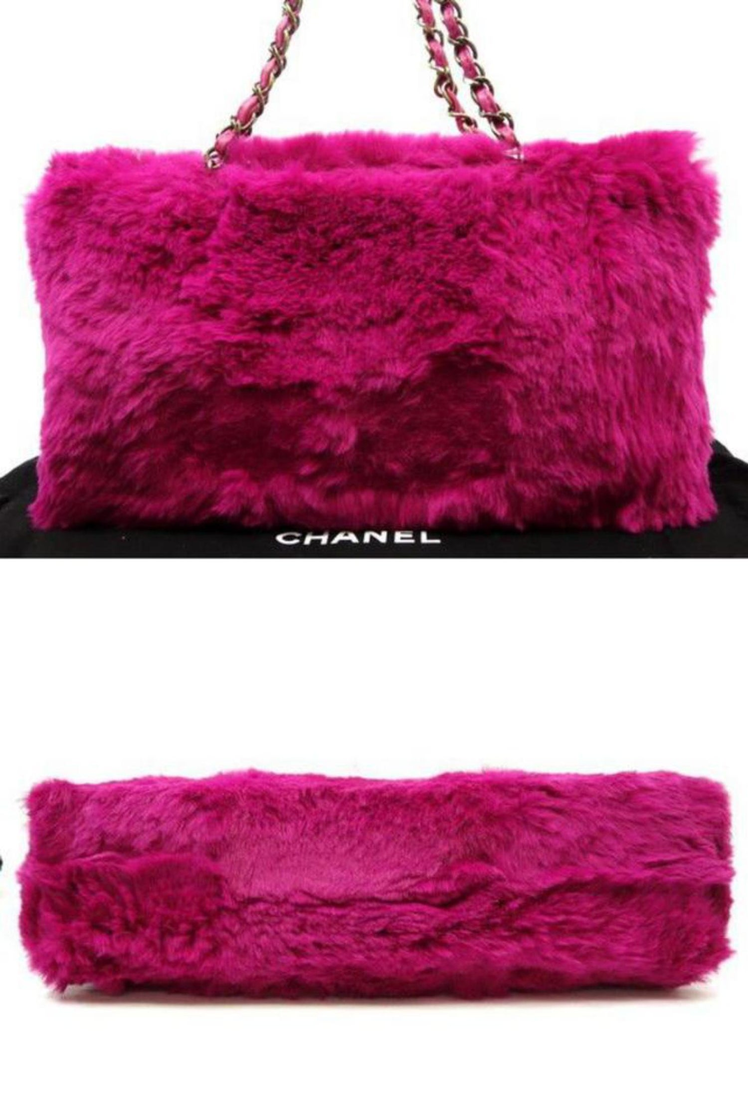 fed3d4c989a6 Chanel Fuchsia Chain Tote 228729 Pink Rabbit Fur Shoulder Bag For Sale at  1stdibs
