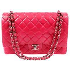 Chanel Fuchsia Lambskin Jumbo Classic Flap Bag