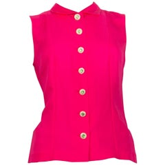CHANEL fuchsia pink silk EMBELLISHED BUTTON Sleeveless Blouse Shirt Top 38 S