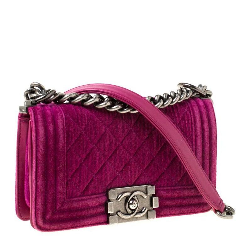 Women's Chanel Fuchsia Quilted Velvet Small Boy Flap Bag