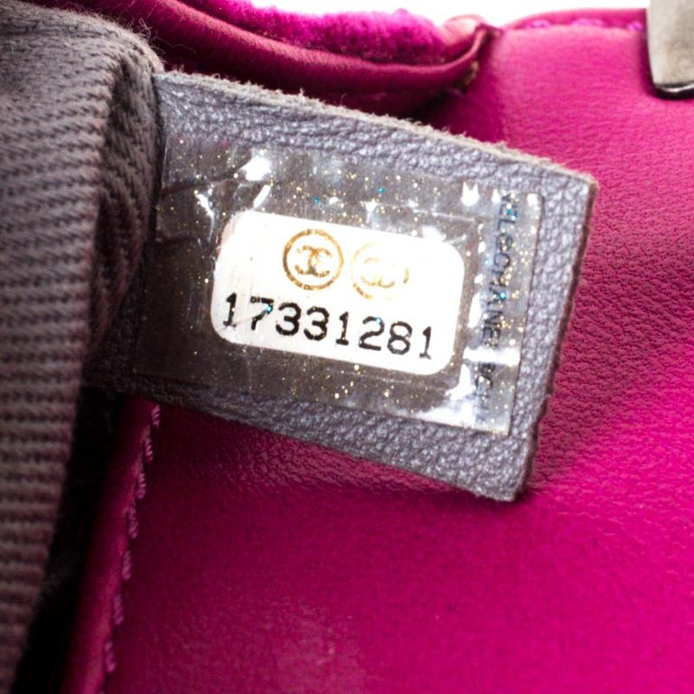 Chanel Fuchsia Quilted Velvet Small Boy Flap Bag 1
