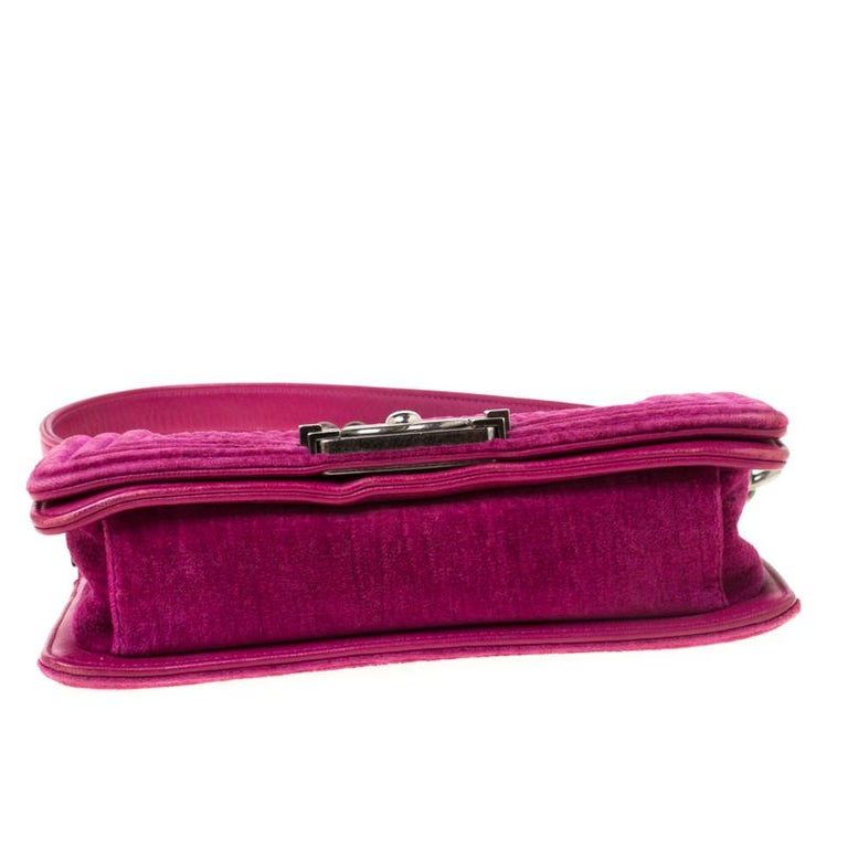 Chanel Fuchsia Quilted Velvet Small Boy Flap Bag 4