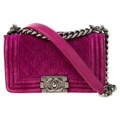 Chanel Fuchsia Quilted Velvet Small Boy Flap Bag