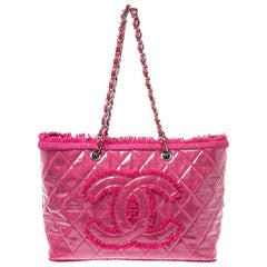 Chanel Fuchsia Quilted Vinyl And Tweed Funny Tote