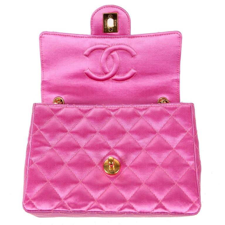 f8753501f630 Chanel Fuchsia Satin Mini Classic Flap Bag For Sale at 1stdibs