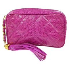 Chanel Fucshia Pink Exotic Skin Leather Gold Tassel Small Evening Clutch Bag