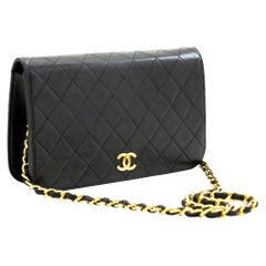 CHANEL Full Chain Flap Shoulder Bag Black Clutch Quilted Lambskin